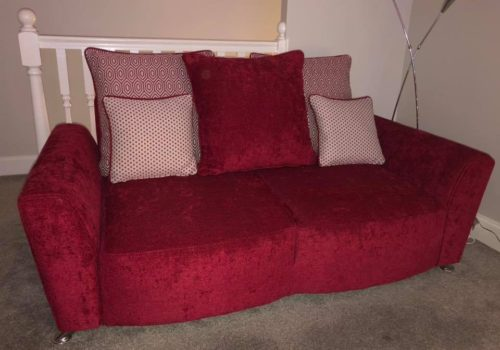Expertly Re-Covered Red Sofa